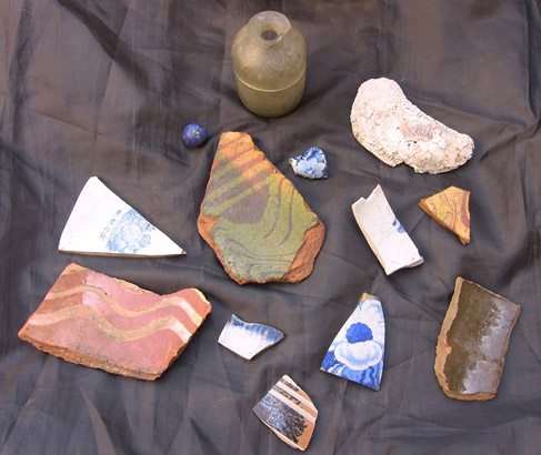 Phound in Philly: bottle, marble, redware, blue & white ceramics, and oyster shells